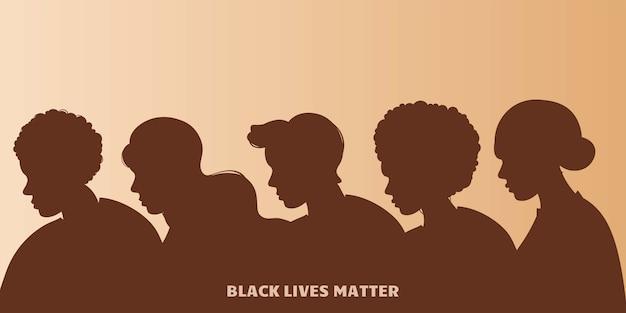 Stoppt rassismus. schwarzes leben ist wichtig, wir sind gleich. kein rassismuskonzept. flacher stil. verschiedene hautfarben. unterstützende illustration. Premium Vektoren