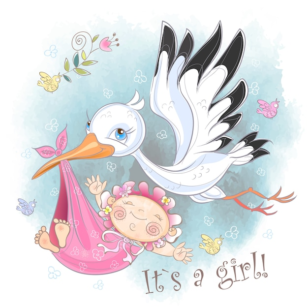 Storch fliegt mit babykarte Premium Vektoren