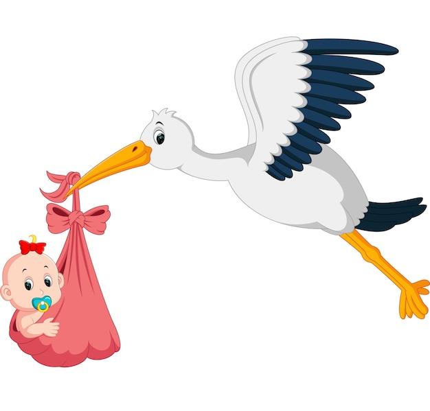 storch mit baby cartoon  premiumvektor