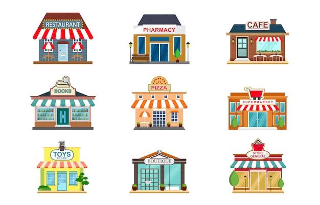 Store facade restaurant shop cafe vorderansicht flach symbol Premium Vektoren
