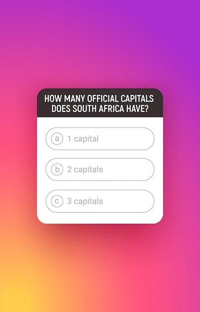 Story-quiz, benutzeroberfläche für soziale medien. umfragefenster mit antwortoption. Premium Vektoren