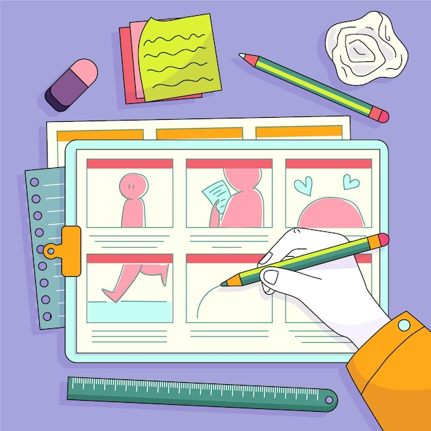 Storyboard-illustration Kostenlosen Vektoren