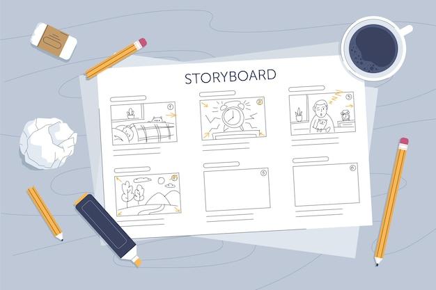 Storyboard-konzept illustriert Kostenlosen Vektoren