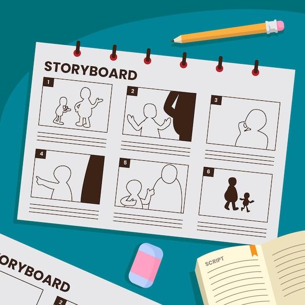 Storyboard-konzept mit gezeichneten szenen Premium Vektoren
