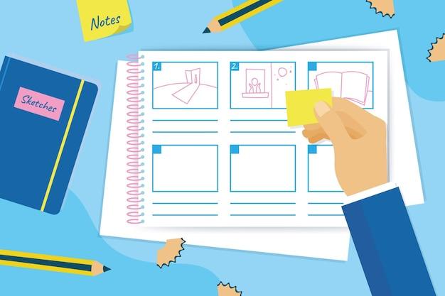 Storyboard-konzept mit zeichnungen Kostenlosen Vektoren