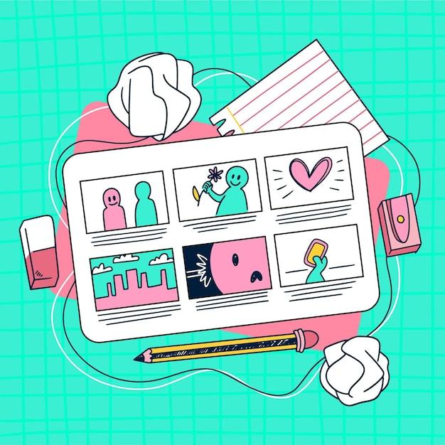 Storyboard-konzept Kostenlosen Vektoren
