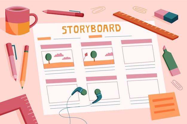 Storyboard-konzeptillustration Kostenlosen Vektoren