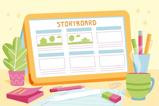 Storyboard-konzeptillustrationen Kostenlosen Vektoren