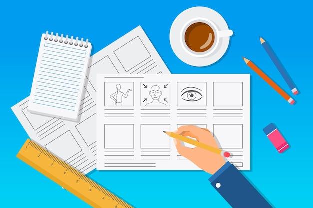Storyboard mit tasse kaffee gezeichnet Kostenlosen Vektoren