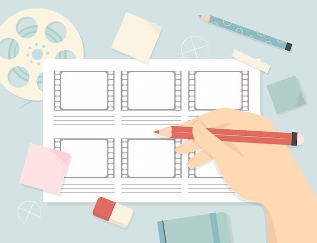 Storyboard und person bereit zu erstellen Kostenlosen Vektoren