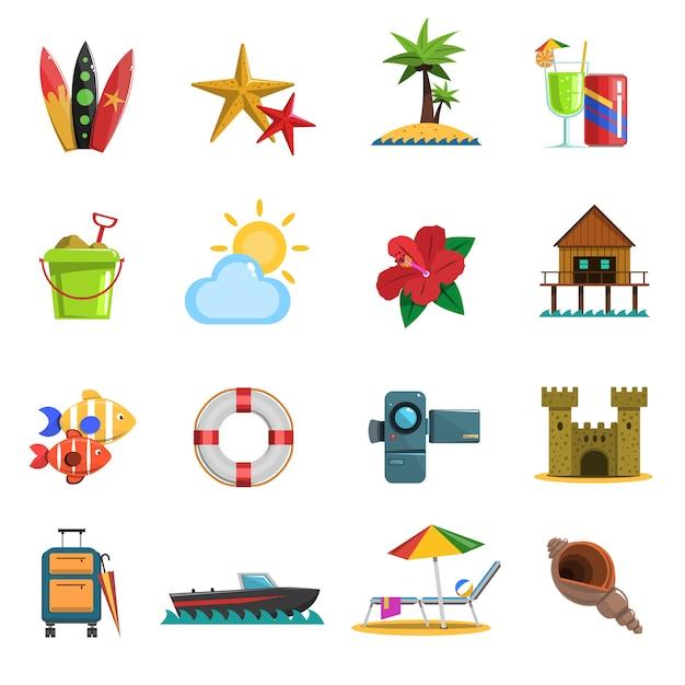 Strand-icons flach Kostenlosen Vektoren