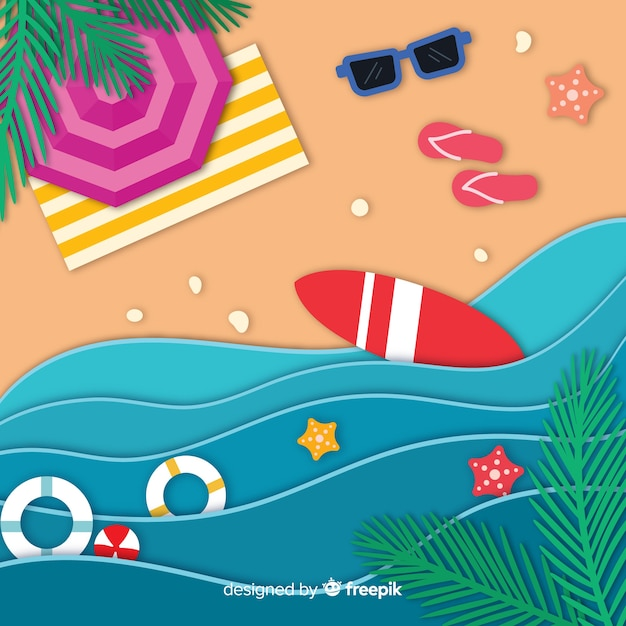 Strand im papierstil Kostenlosen Vektoren