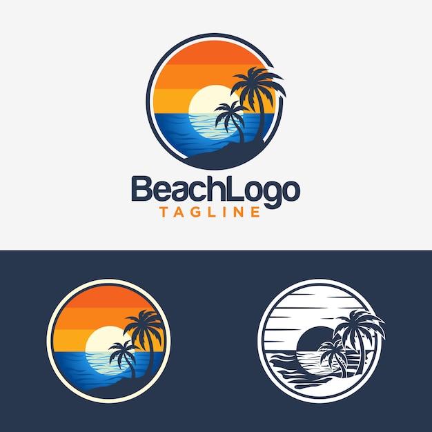 Strand-logo-design-vektor-vorlage Premium Vektoren