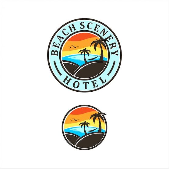Strand-logo-design Premium Vektoren