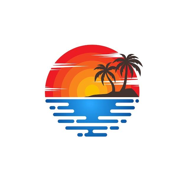 Strand logo vektoren Premium Vektoren