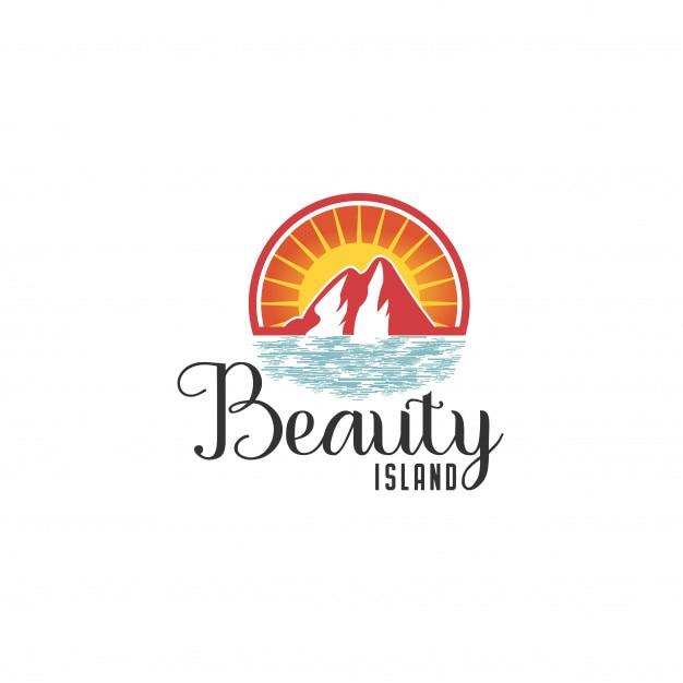 Strand logo vorlage. seeresort, wellen, berge und sonne auf einer insel Premium Vektoren