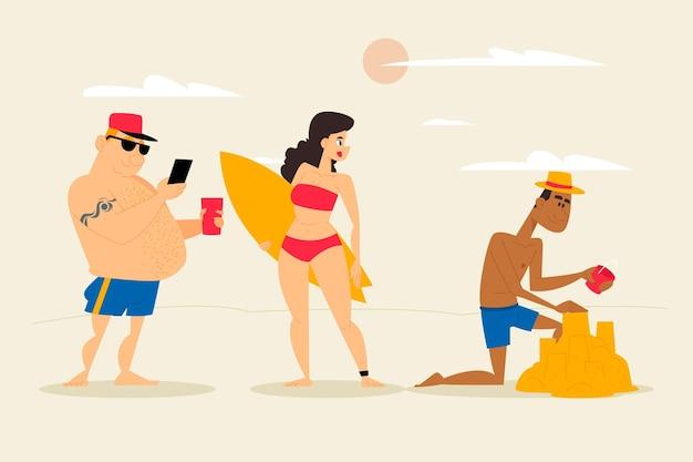 Strand menschen konzept Kostenlosen Vektoren
