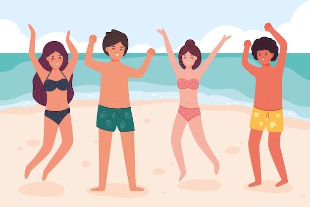 Strand menschen sammlung Kostenlosen Vektoren