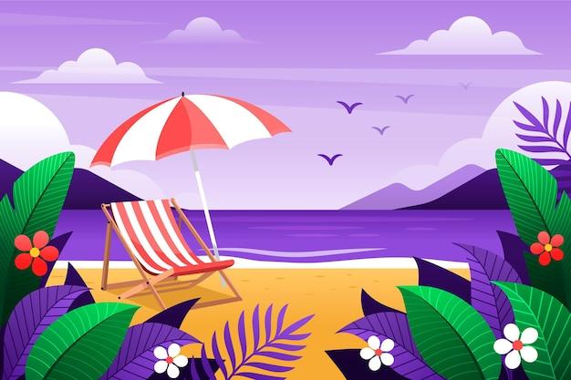 Strand mit tropischen blättern zoomen hintergrund Kostenlosen Vektoren