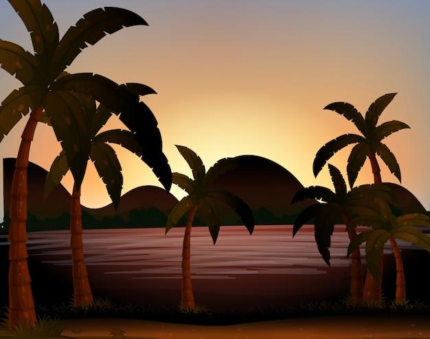 Strand silhouetten Kostenlosen Vektoren
