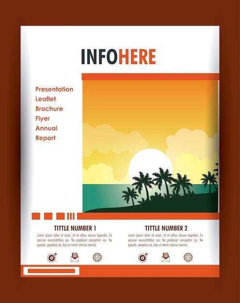 Strand- und reisebroschüre infographic Premium Vektoren