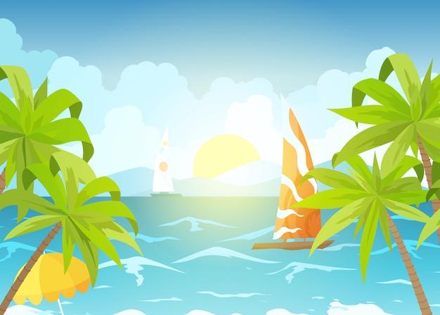Strand und sonnenliegen am meer. Premium Vektoren