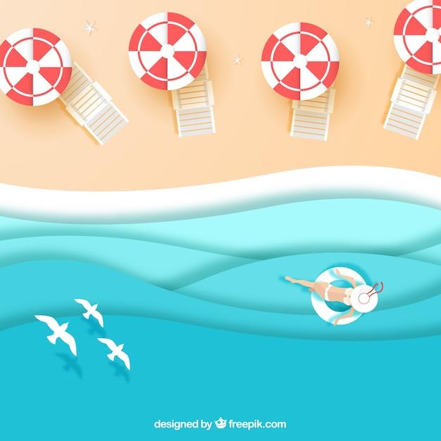 Strand von der spitze in der papierbeschaffenheit Kostenlosen Vektoren