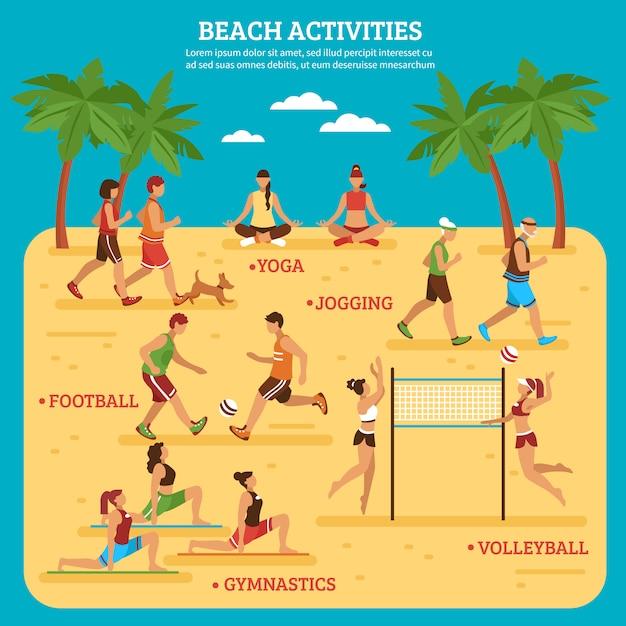Strandaktivitäten infografiken Kostenlosen Vektoren