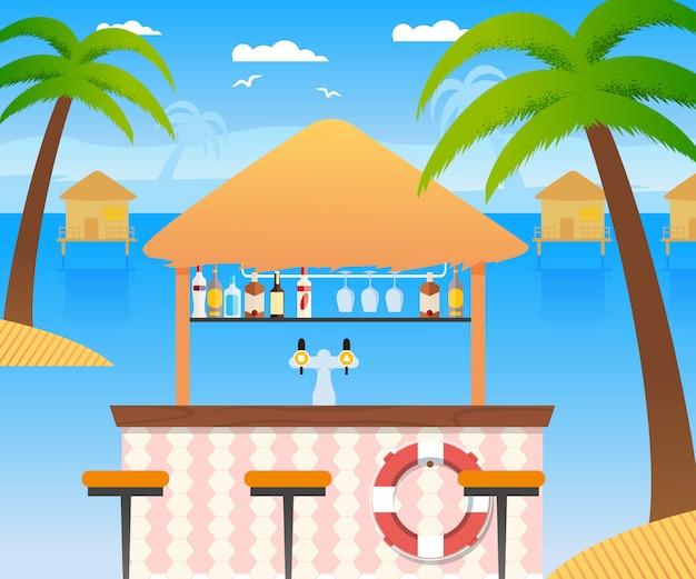 Strandbar mit verkauf von kalten alkoholischen getränken und wasser. hölzernes sommerrestaurant mit schwimmring-panoramischem tropischem meerblick mit wasser-häusern. palmen kokospalmen, stühle. vektor flache abbildung Premium Vektoren
