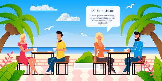 Strandcafé auf tropischem erholungsort-flachem vektor-plakat Premium Vektoren