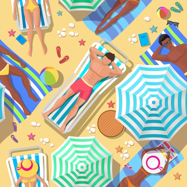 Strandferien nahtloses muster. entspannung und sommer, tourismus und erholung, entspannung im freien, komfortable freizeit Kostenlosen Vektoren