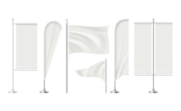 Strandflagge. werbung für leere fläche werbung schild einzelhandelsmärkte banner realistische sammlung Premium Vektoren