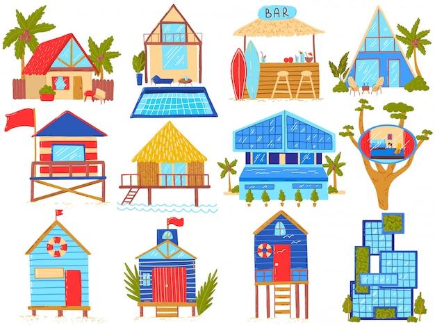 Strandhäuser illustrationsset, cartoon-strohhütten am strand, bungalowhaus mit palmen oder villenhotels exotischer haushalte Premium Vektoren