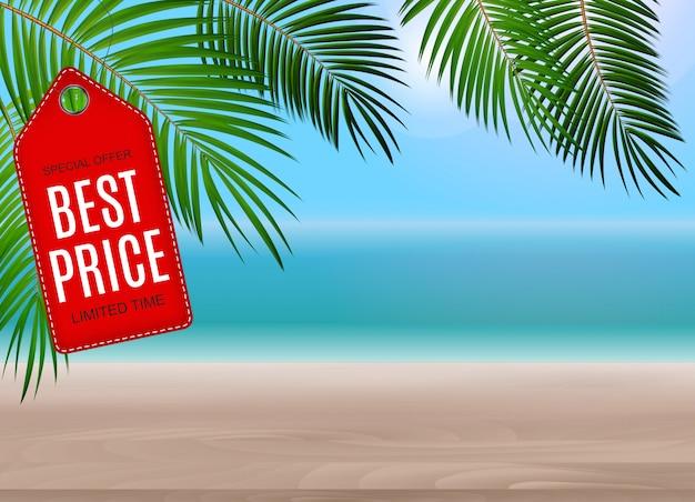 Strandhintergrund mit bestem preis Premium Vektoren