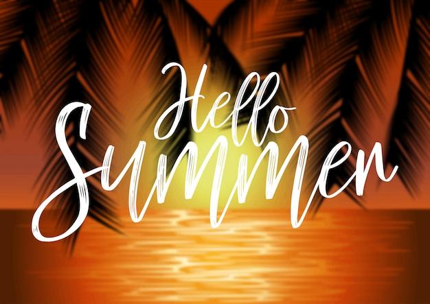 Strandlandschaft mit palmen und beschriftung auf unschärfehintergrund. sommer-konzept illustration Premium Vektoren