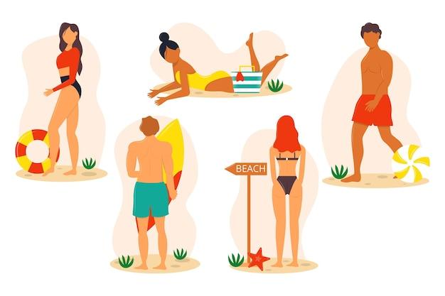 Strandleute packen Kostenlosen Vektoren