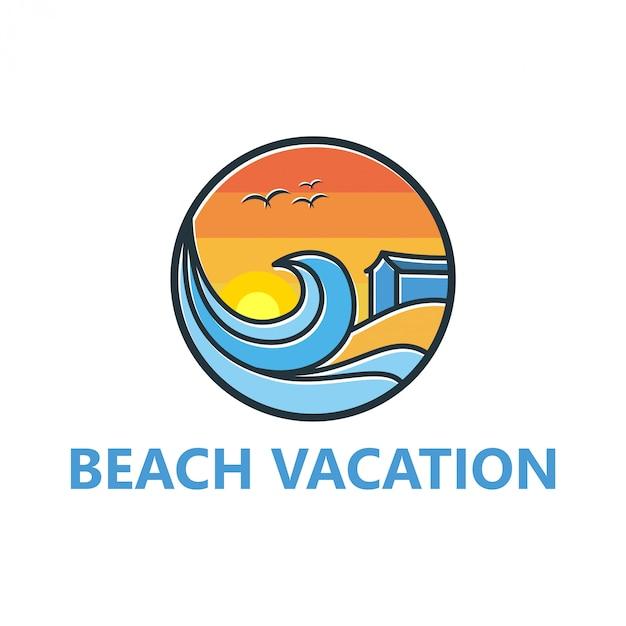 Strandlogodesign für reisen und im freien Premium Vektoren
