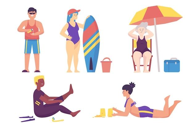 Strandmenschenillustration Kostenlosen Vektoren