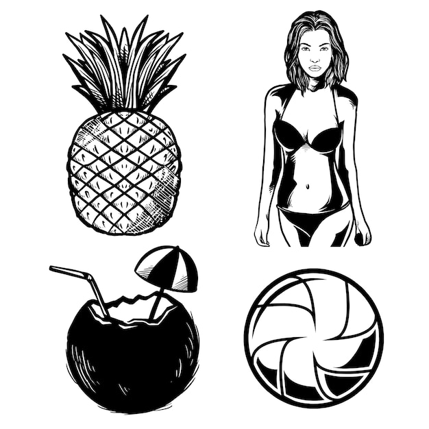Strandpackung, handgezeichnete illustration Premium Vektoren