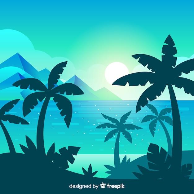 Strandsonnenuntergang-landschaftshintergrund Kostenlosen Vektoren