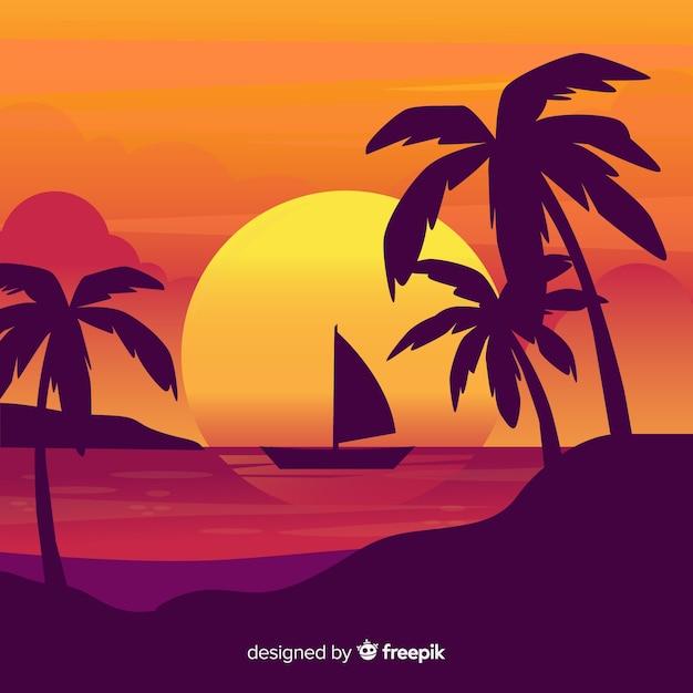 Strandsonnenuntergang mit palmenschattenbildern Kostenlosen Vektoren
