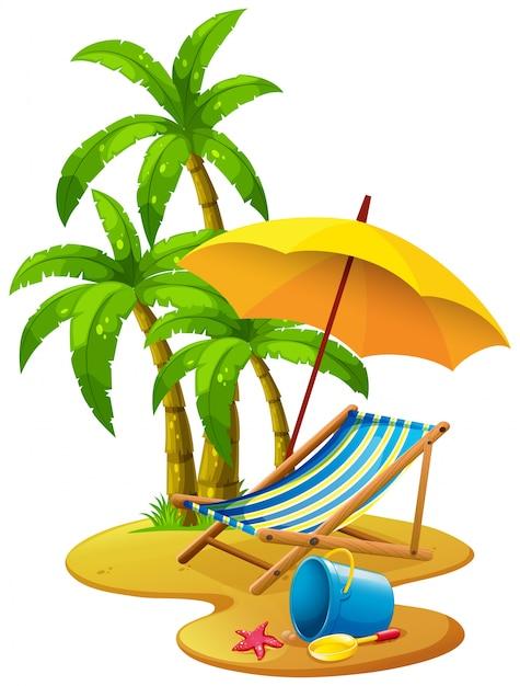 Strandszene mit stuhl und sonnenschirm Kostenlosen Vektoren