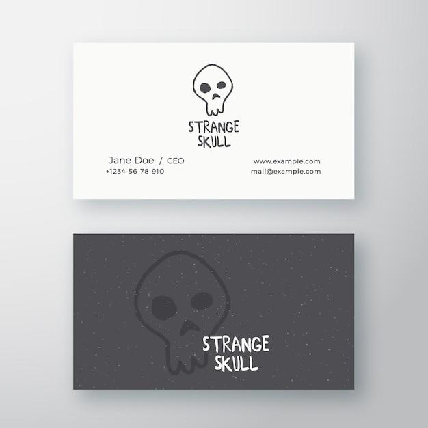 Strange skull abstract sign oder logo und visitenkartenvorlage. Premium Vektoren