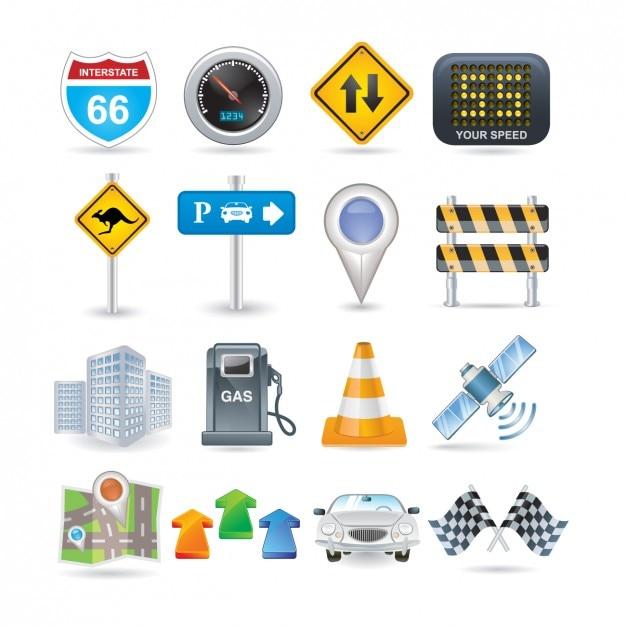 Straße icon set Kostenlosen Vektoren