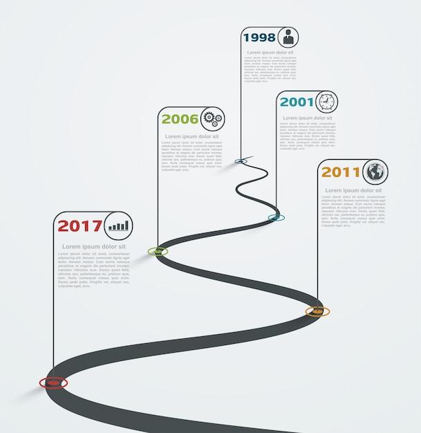 Straße infographic mit zeigern, zeitachse mit geschäftsikonen. strukturentwicklung. Premium Vektoren
