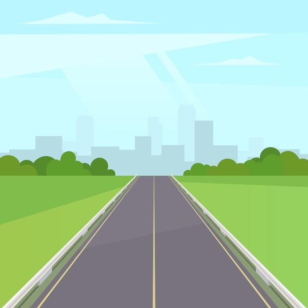 Straße weg in die stadt Premium Vektoren