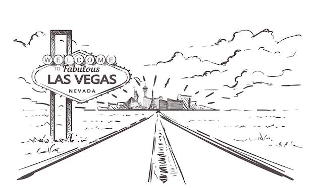 Straße zur las vegas landschaft Premium Vektoren