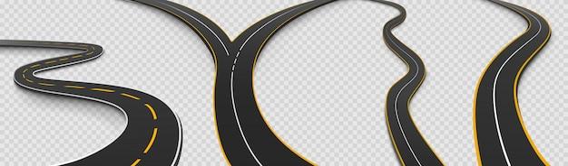Straßen-, kurven- und gabelstraßen-isolierte symbole gesetzt Kostenlosen Vektoren