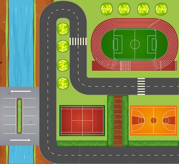 Straßen und sportanlagen Premium Vektoren