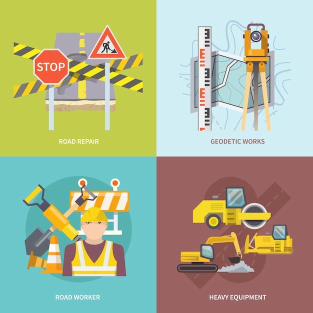 Straßenarbeiter flach Kostenlosen Vektoren